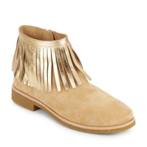Kate Spade Saks Fifth Gold Fringe Suede Booties